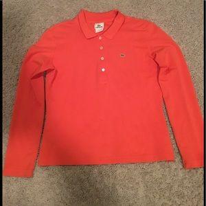Women's Lacoste Long Sleeve Polo Shirt Sz XS Red